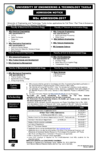 UET Taxila Admission M.Sc. Admissions Fall-2017