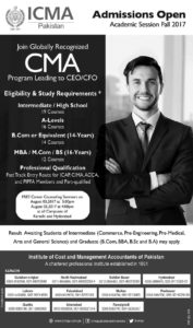 ICMA Lahore CMA Program Leading to CEO/CFO Admission 2017
