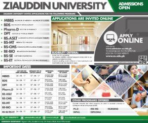 Ziauddin University MBBS BDS Pharm-D DPT Admission 2017