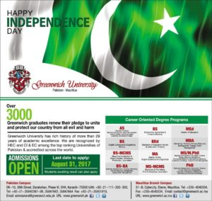 Greenwich University Karachi AS, BS, MA Admission Open 2017-2018