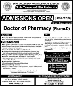 Shifa College of Pharmaceutical Sciences Pharm-D Admission 2018
