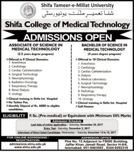 BS & Associate Degree Admission open in Shifa College of Medical Technology 2017