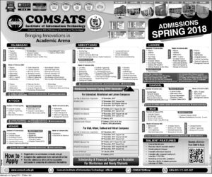 Comsats University CIIT Sahiwal Spring Admissions 2018