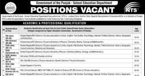 Punjab School Education Department Educators/AEOs Jobs 2017-2018