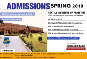 Textile Institute of Pakistan Admission Open Spring 2018