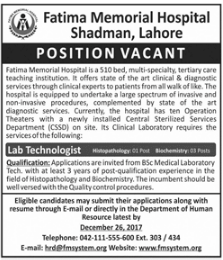 Lab Technologist Required at Fatima Memorial Hospital Lahore