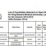 University of Health Sciences (UHS) Lahore: King Edward Medical University (KEMU) Lahore Merit List 2014 for Candidates Selected on Open Merit Seats for Government Medical Institutions of the Punjab (Session 2014-2015) (30th October 2014).