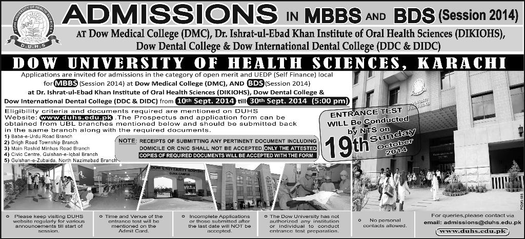 Dow University of Health Sciences (DUHS) Karachi Admission Notice 2014 for Bachelor of Medicine, Bachelor of Surgery (MBBS) & Bachelor of Dental Surgery (BDS) in Dow Medical College (DMC) Karachi, Dow Dental College (DDC) Karachi, Dow International Dental College (DIDC) Karachi, Dr. Ishrat-ul-Ebad Khan Institute of Oral Health Sciences (DIKIOHS) Karachi