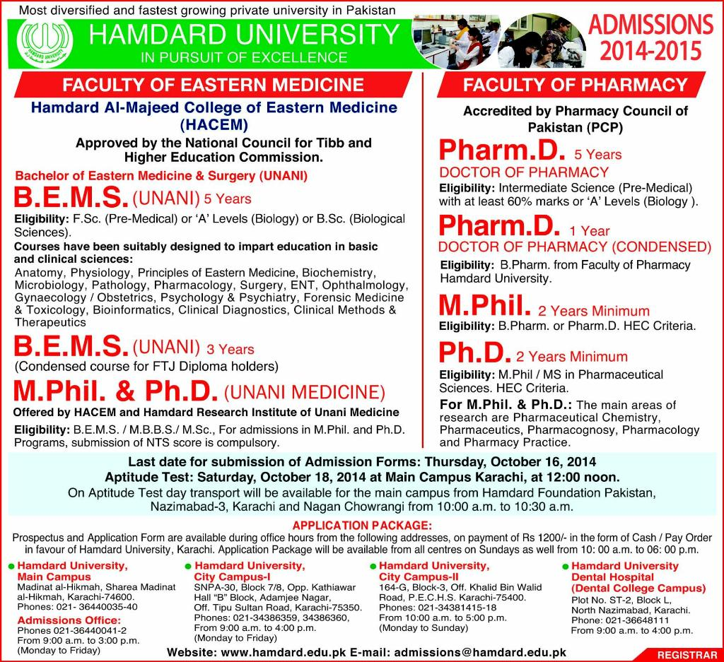 Hamdard University Karachi Admission Notice 2014 for Bachelor of Eastern Medicine & Surgery (BEMS), Doctor of Pharmacy (Pharm-D)