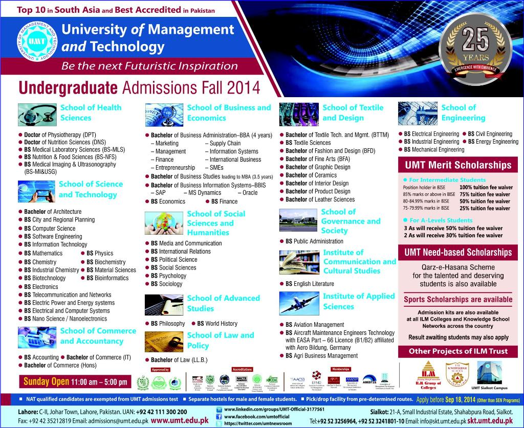 University of Management and Technology (UMT) Lahore Admission Notice 2014 for Doctor of Physical Therapy (DPT)