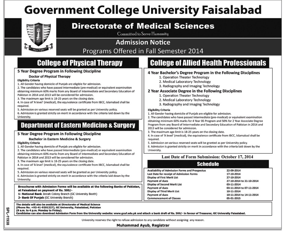 Government College University Faisalabad (GCUF) Faisalabad Admission Notice 2014-2015 for Bachelor of Eastern Medicine & Surgery (BEMS), Doctor of Physical Therapy (DPT)
