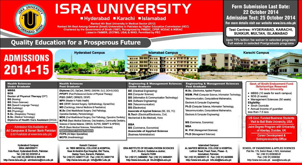 ISRA Institute of Rehabilitation Sciences (IIRS) Karachi Admission Notice 2014-2015 for Doctor of Physical Therapy (DPT)