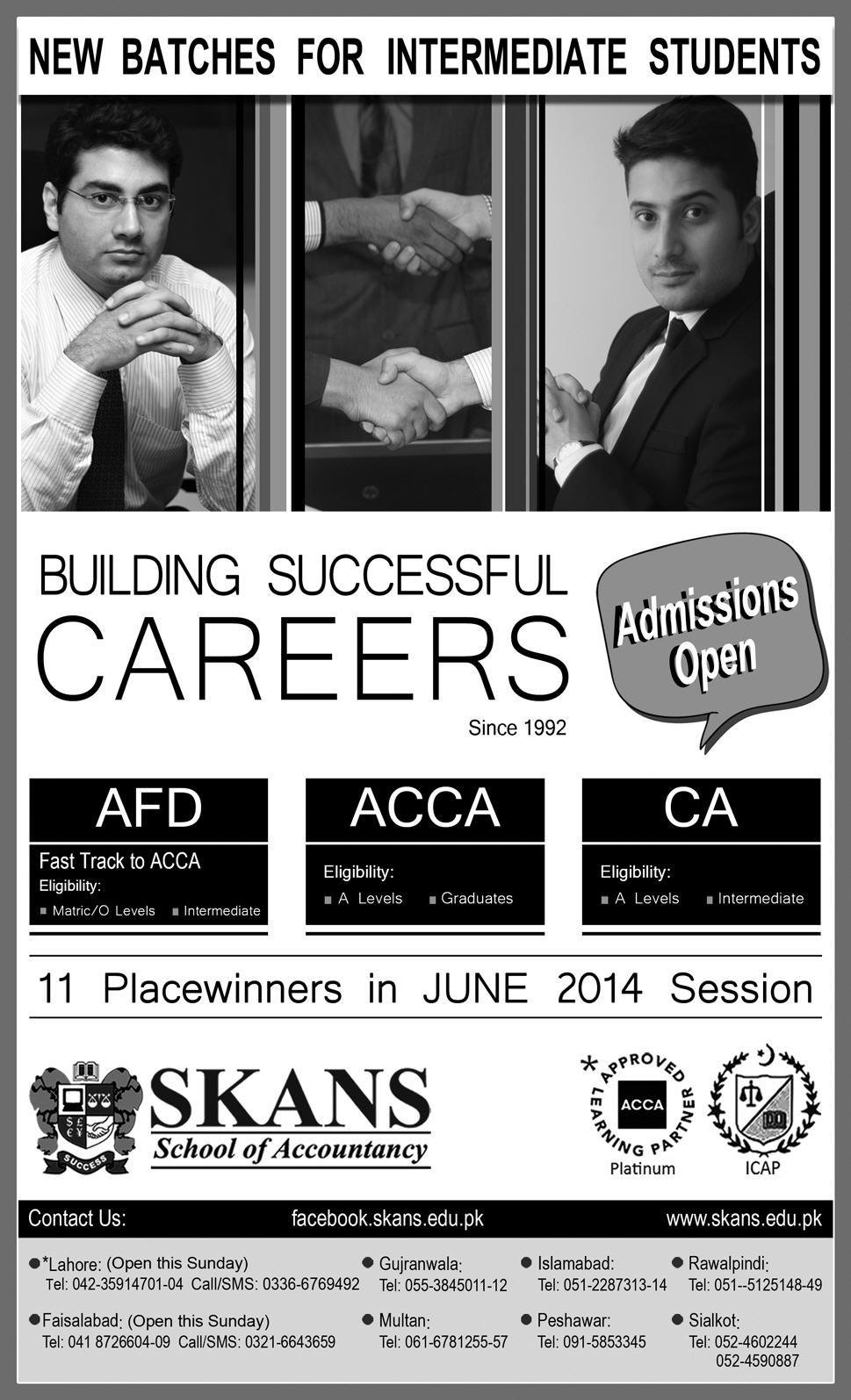 SKANS School of Accountancy Lahore Admission Notice 2014-2015 for Association of Chartered Certified Accountants (ACCA), Chartered Accountants (CA), Foundation Diploma (FD)