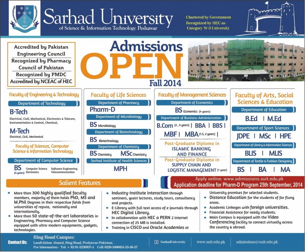 Sarhad University of Science & Information Technology (SUIT) Peshawar Admission Notice 2014 for Doctor of Pharmacy (Pharm-D)