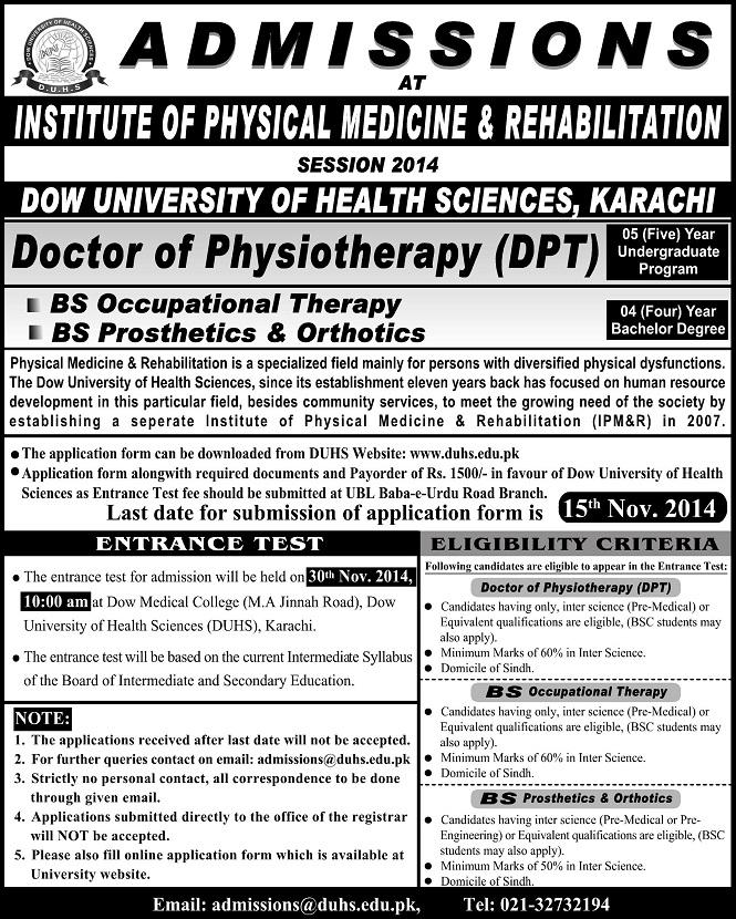 Institute of Physical Medicine & Rehabilitation Karachi Admission Notice 2015