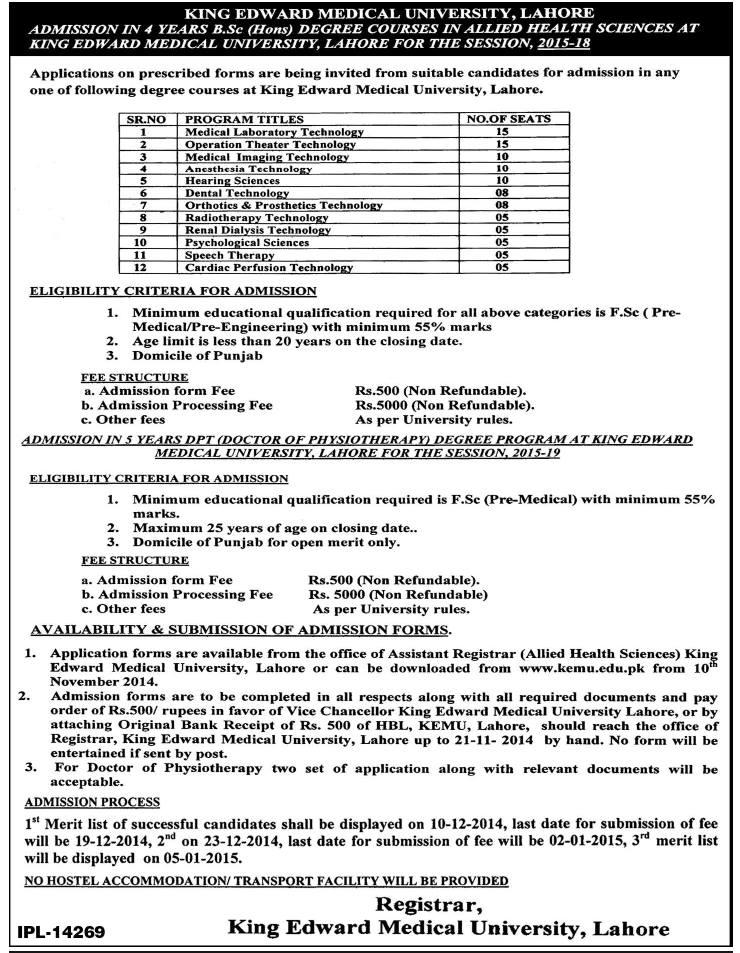 King Edward Medical University (KEMU) Lahore Admission Notice 2014
