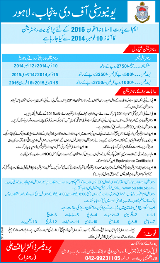 Registration of Private Candidates for M.A. Part-I Annual Examination 2015