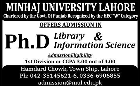 Minhaj University Lahore Admission Ph.D 2015