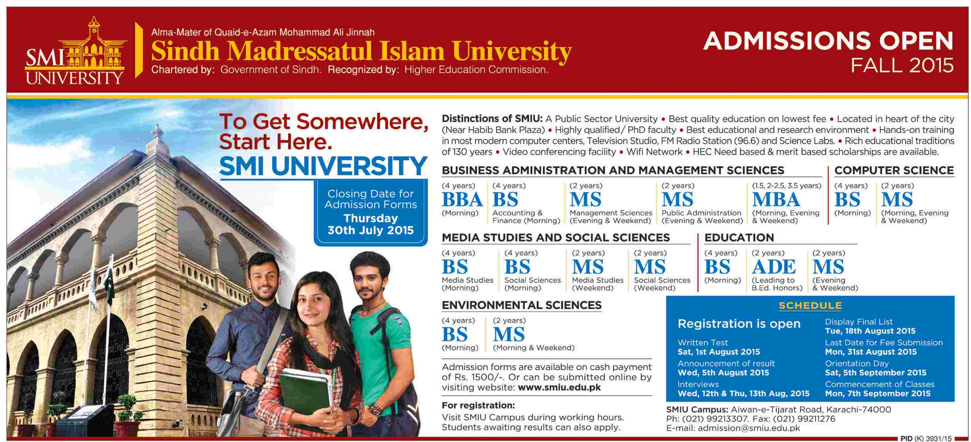 Sindh Madressatul Islam University (SMIU) Karachi Admission Notice 2015