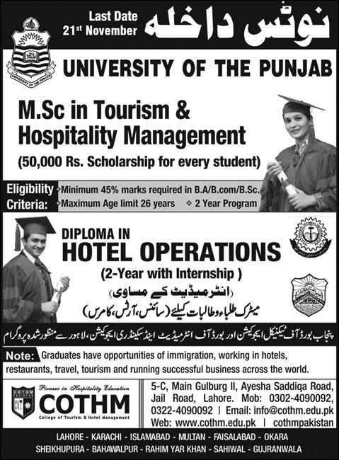 Diploma in Hotel Operations Admission COTHM Lahore
