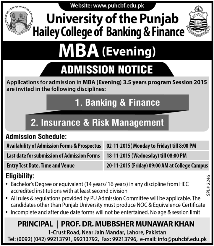 Hailey College of Business & Finance MBA Admission 2015