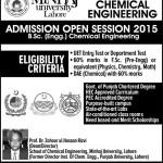Minhaj University Lahore B.Sc. Chemical Engineering Admission 2015