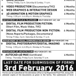 National College of Arts Lahore Diploma & Certificate Admission 2016