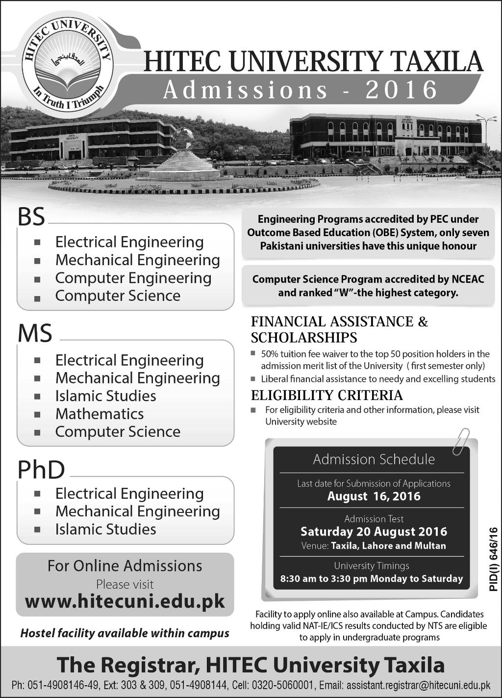 HITEC University Taxila BS MS PhD Admissions 2016