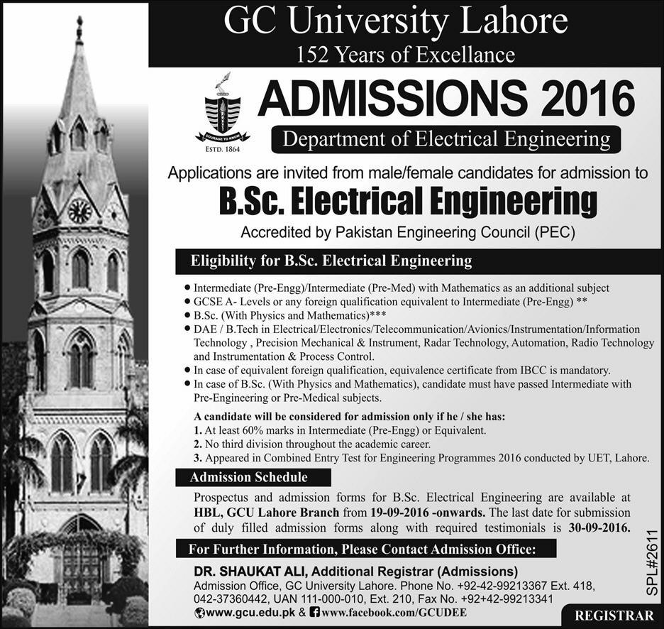 GCU Lahore B.Sc. Electrical Engineering Admission 2016