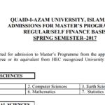 Quaid-i-Azam University Spring Admission Master's Program 2018