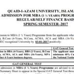 Quaid-i-Azam University Islamabad Admission MBA (1.5 Years) 2017