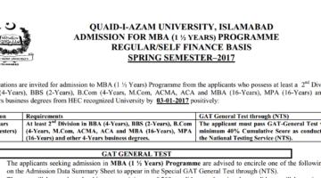 Quaid-i-Azam University Islamabad Admission MBA 1½ Years 2017
