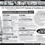 GC University Lahore Intermediate Admissions 2017