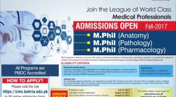 Bahria University M.Phil Anatomy, Pathology Pharmacology Admission 2017