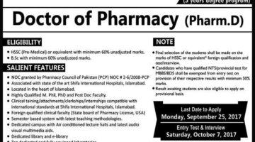 Shifa College of Pharmaceutical Sciences Pharm-D Admission 2018