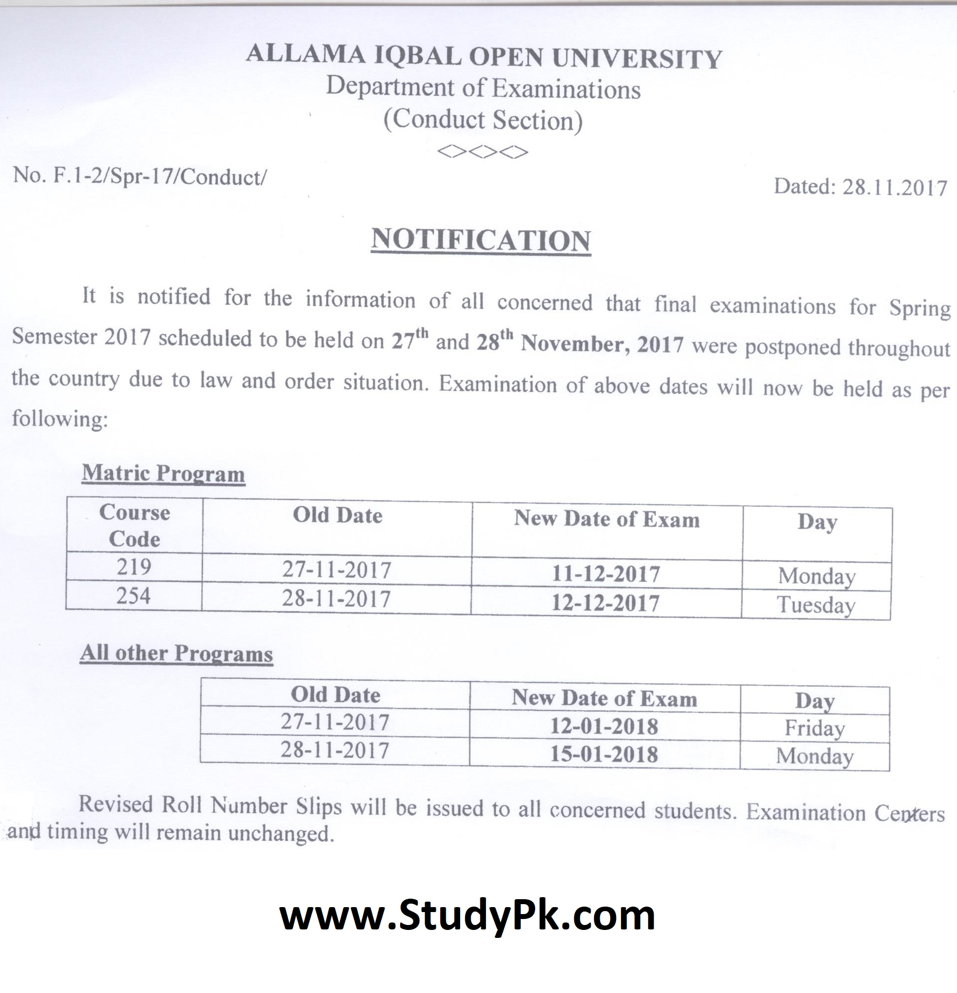 AIOU Postpond Paper Reschedule Date Sheet 27th & 28th November 2017