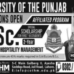 COTHM Lahore M.Sc. in Tourism & Hospitality Management Admission 2017