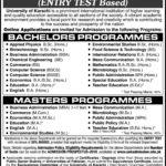 University of Karachi B.Sc & M.Sc Admission Open 2017