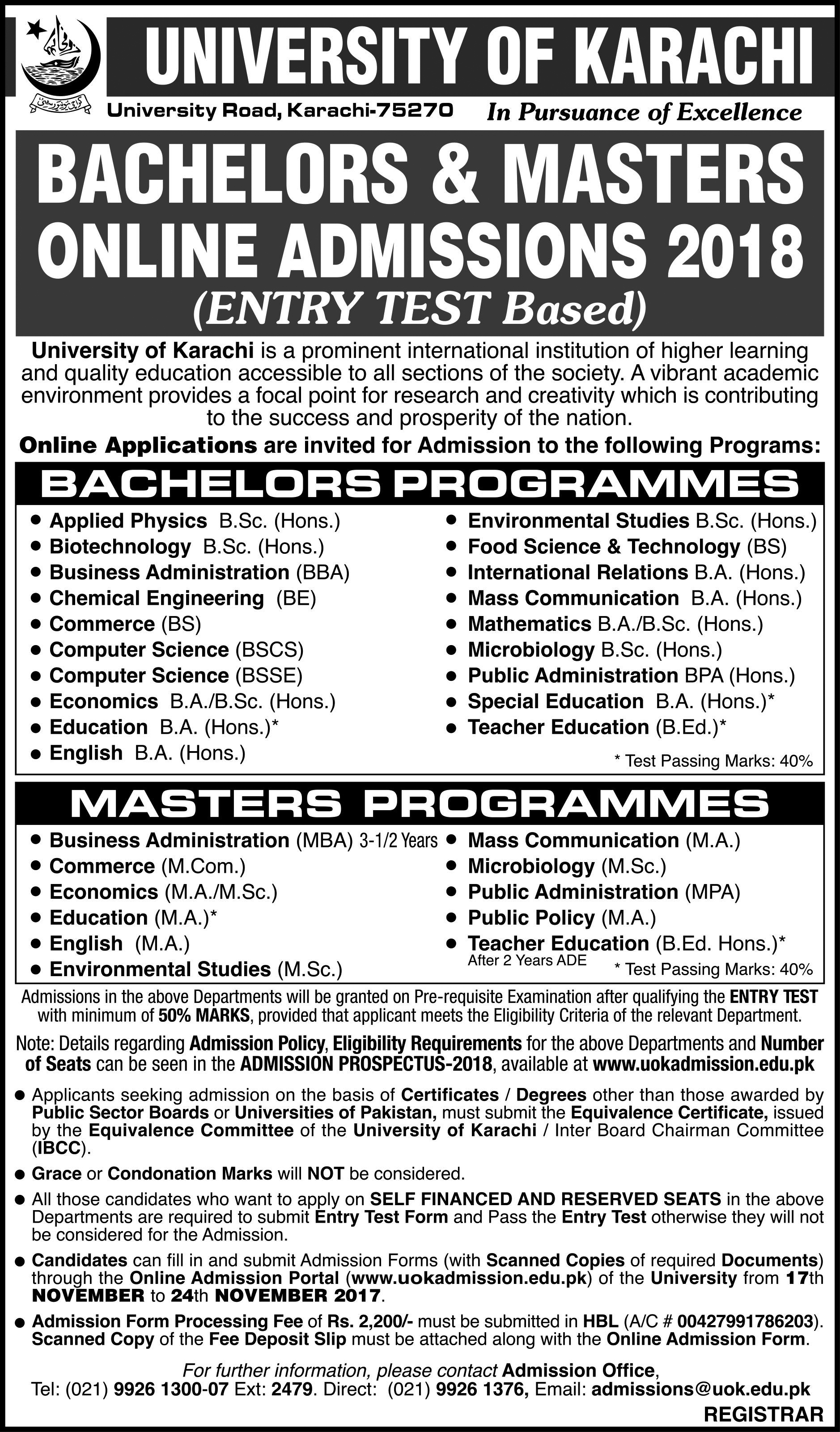 University of Karachi B.Sc & M.Sc Admission Open 2017