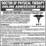 University of Karachi DPT Admission Open 2017