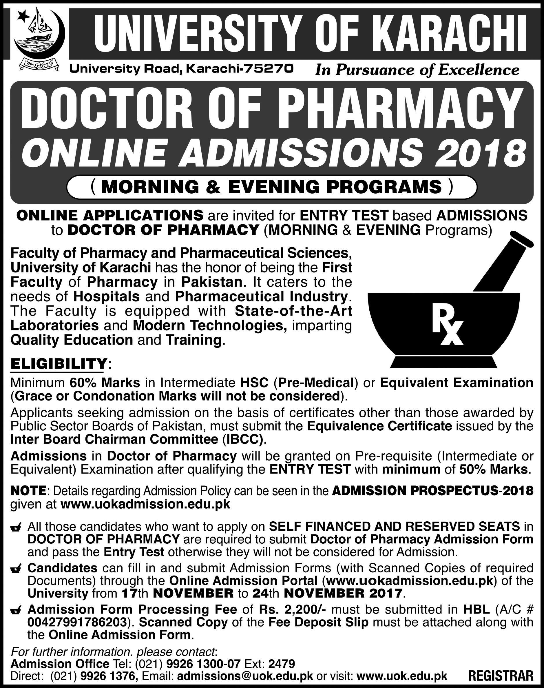 University of Karachi Pharm-D Admission Open 2017