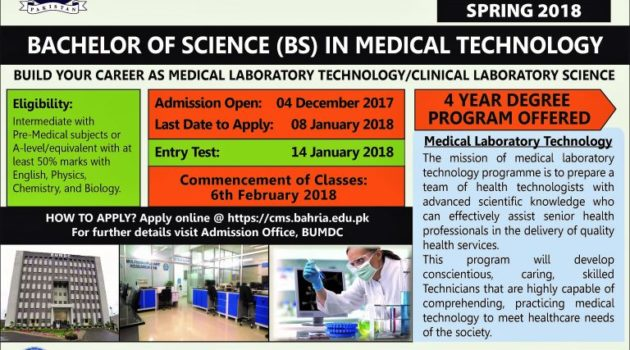 Bahria University Medical College Admission Spring 2018
