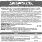 University of Sindh Mirpurkhas B.Ed. Admission 2018
