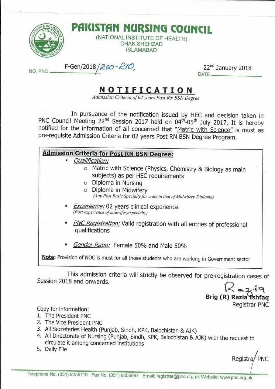 PNC Admission Criteria for Post RN BSN Degree