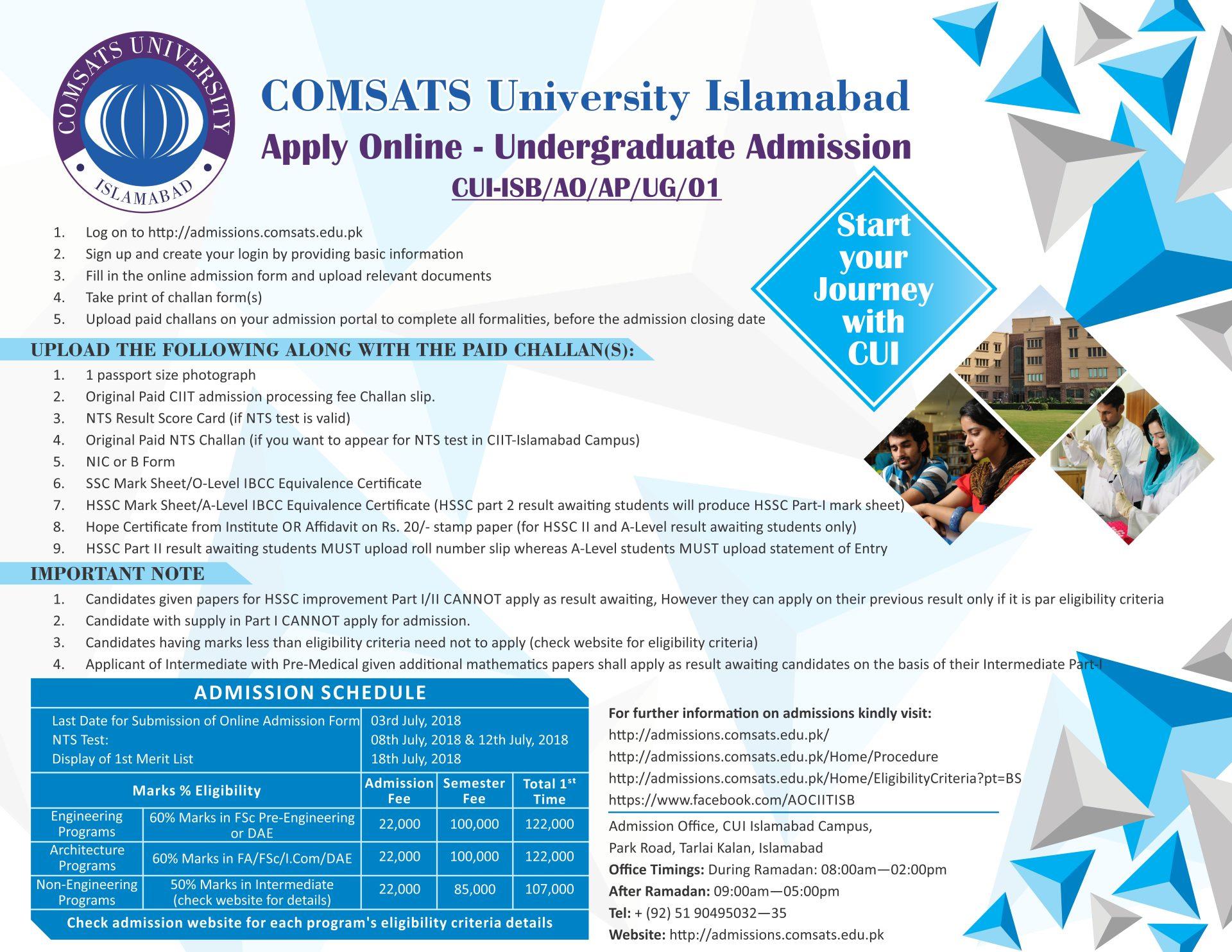 COMSATS University Islamabad Apply Online Undergraduate Admission