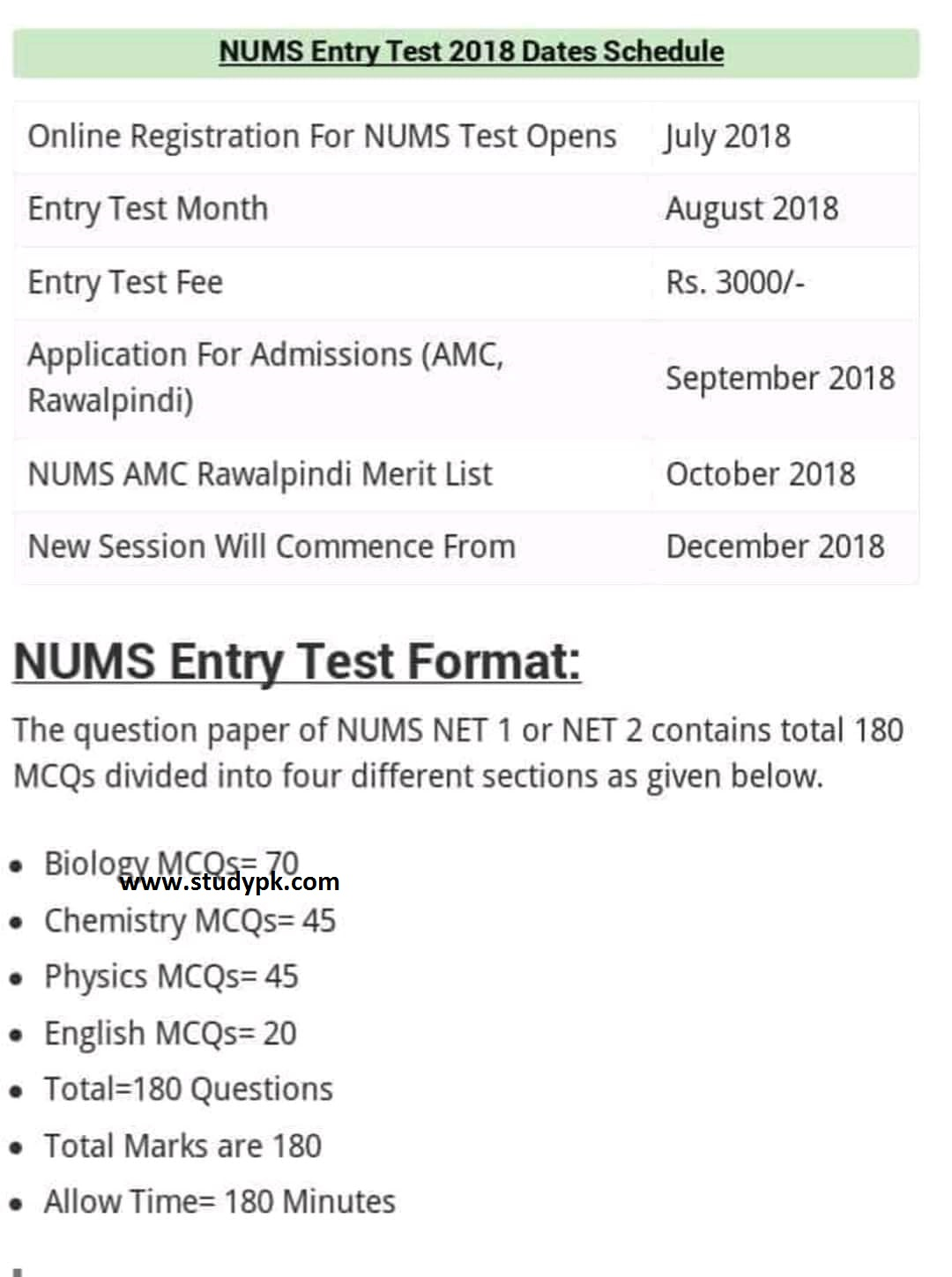 NUMS Entry Test 2018 Dates Schedule & Test Format