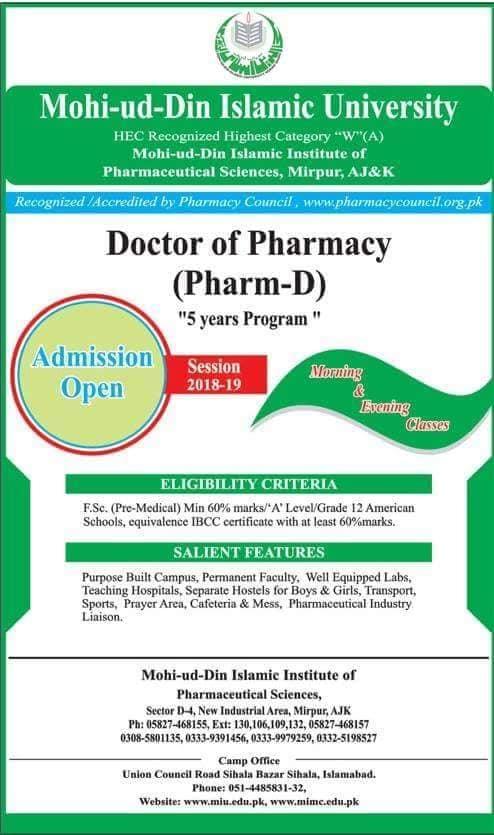 Mohi-Ud-Din Islamic University Pharm-D Admission 2018
