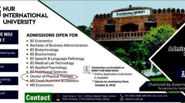 NUR International University DPT Admission 2018