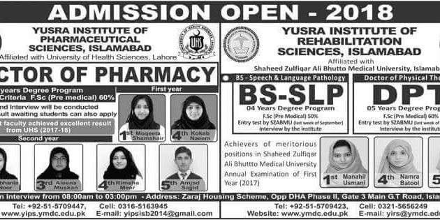 Yusra Institute of Pharmaceutical Sciences Pharm-D Admission 2018