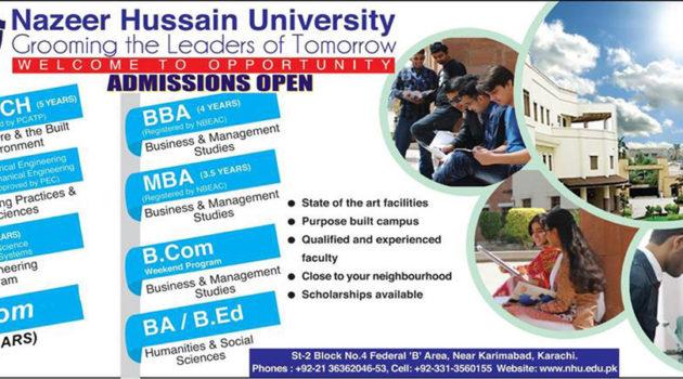 Nazeer Hussain University Admission Fall 2018, Apply Online